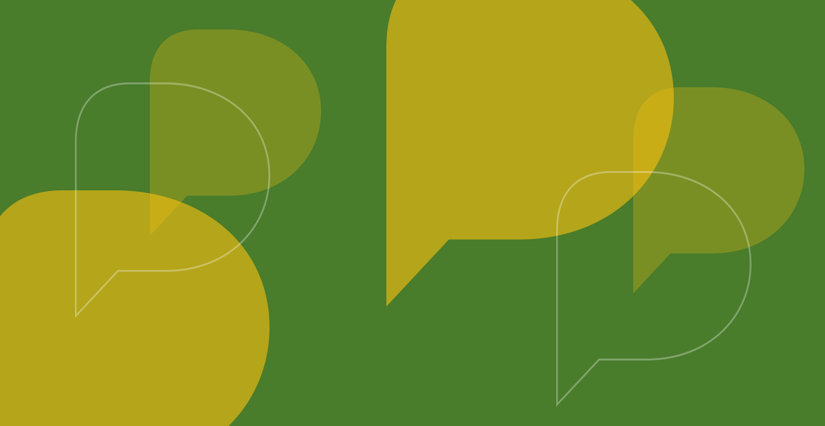 CIPD graphic banner - lime green and yellow speech bubbles