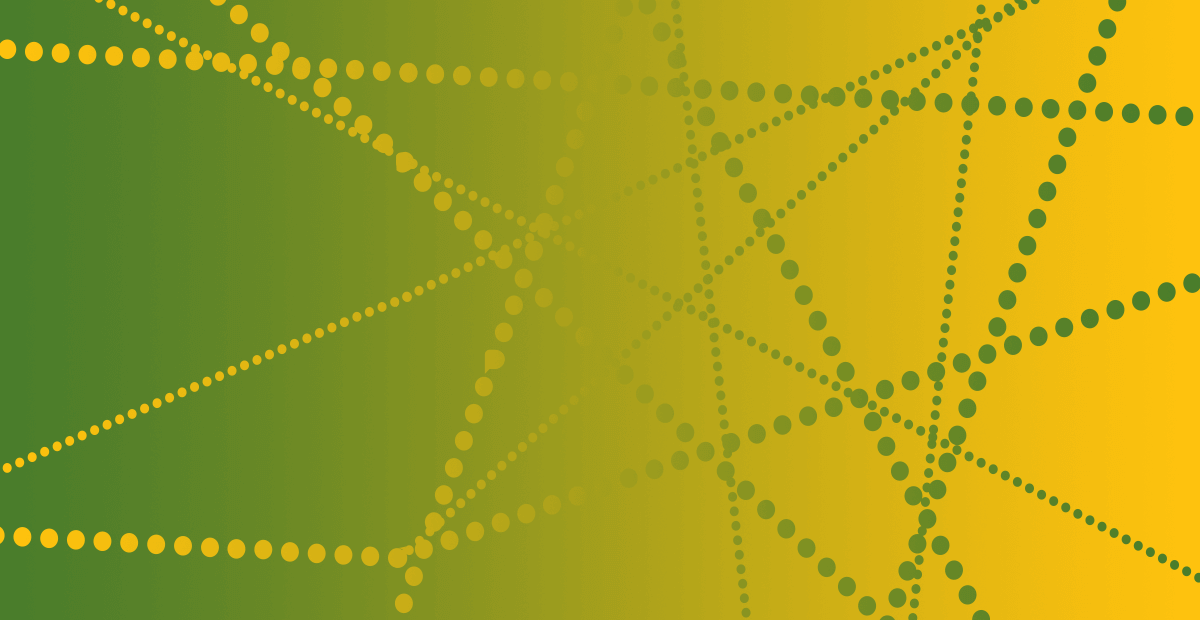 CIPD graphic banner - Lime and yellow gradient with yellow-green beaded web